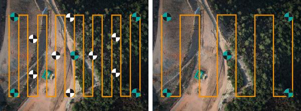 Mapeado con dron si puntos de soporte - solo puntos de verificación (control de calidad)