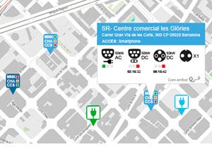 imagen de mapa de puntos de recarga de vehiculo electrico desarrollado para ICAEN