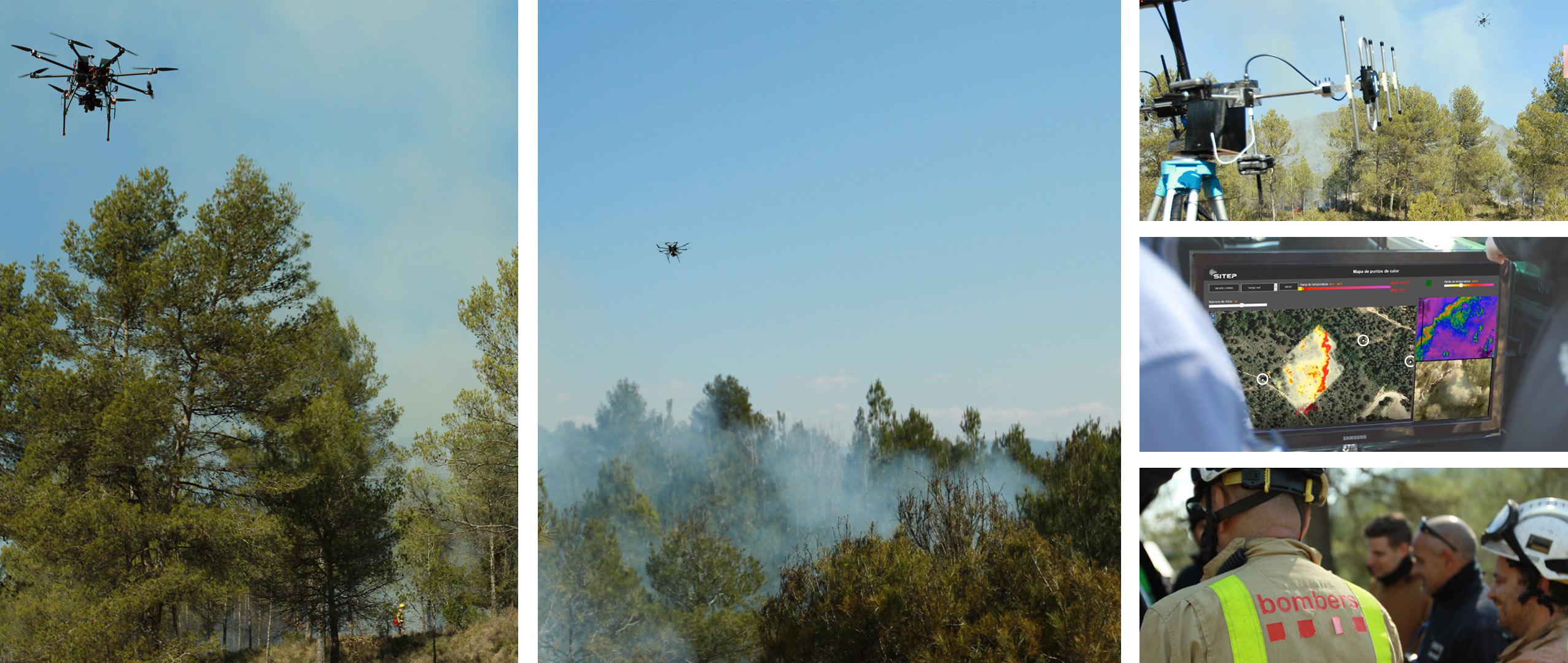 Detección de puntos calientes con dron en incendio