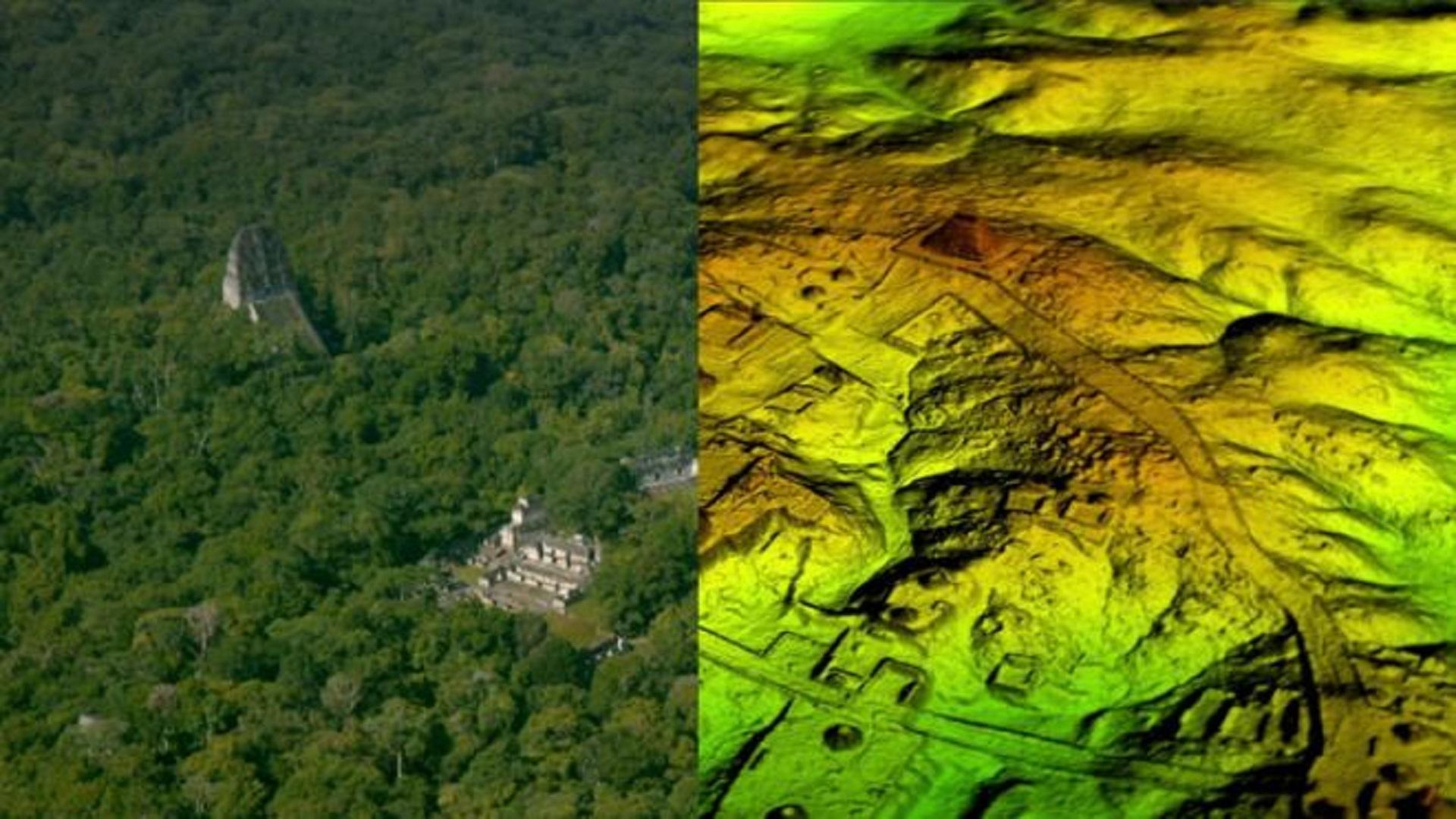 templo maya, bajo la selva - LiDAR