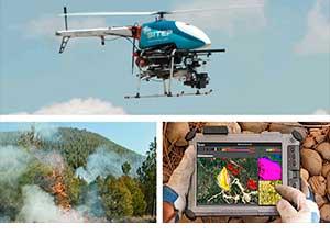 imagen dron bombero para la extinción de incendios