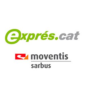 Logo de EXPRES CAT y MOVENTIS SARBUS - proyecto de optimización de redes de autobuses de altas prestaciones - Exprés.cat