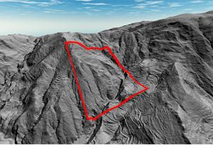 Imagen que muestra la sección calculada de deslizamiento de terreno realizada con dron y sensor LiDAR