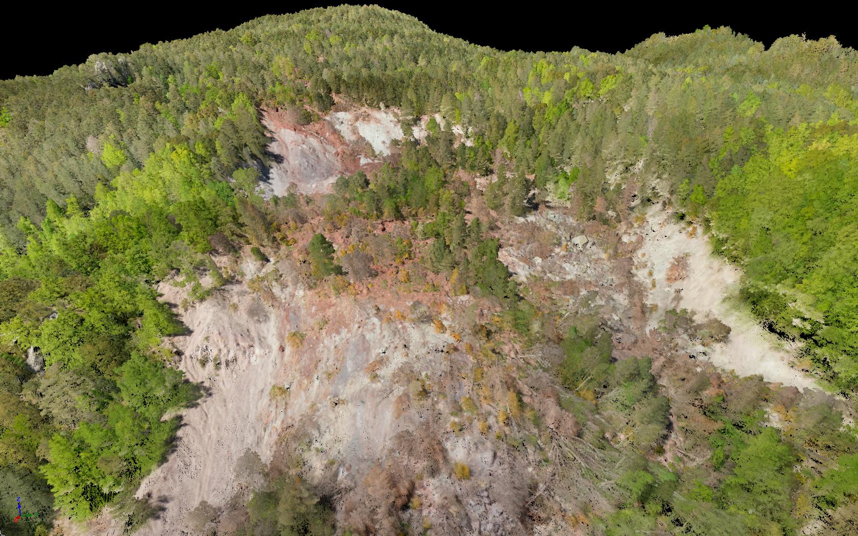 Nube de puntos montaña capturada con dron helicóptero