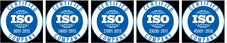 Logotipos de certificaciones ISO 9001 14001 27001 33030 45001 que avalan a SITEP y sus productos